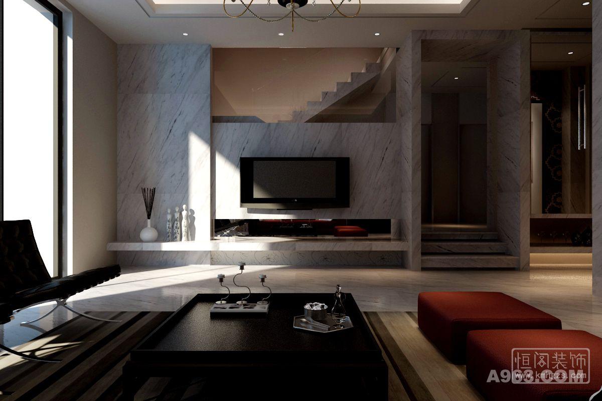 客厅背景墙 现代简约风格 昆明恒阁装饰出品